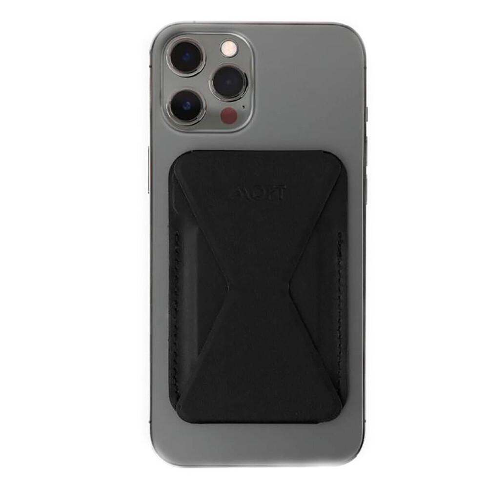 Купить Кожаный чехол-бумажник с подставкой MOFT Snap-On MagSafe Black для iPhone 12 mini | 12 | 12 Pro | 12 Pro Max