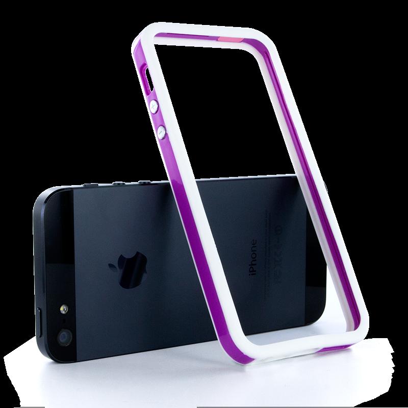 Двухцветный бело-фиолетовый бампер для iPhone 5/5S/SE