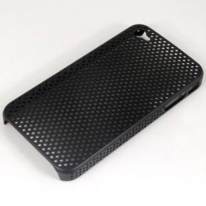 """Черный прорезиненный чехол """"Сеточка"""" для iPhone 4"""