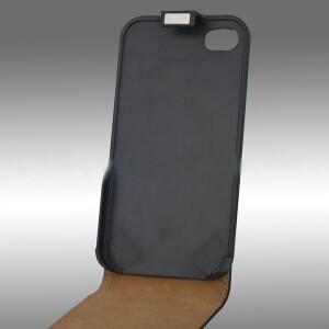 Кожаный Flip чехол для iPhone 4