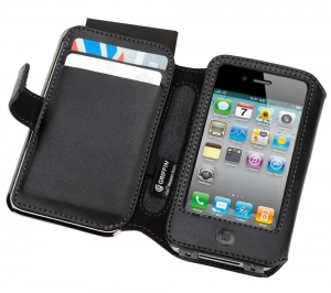 GRIFFIN Elan Passport Wallet Black Perforated Leather для iPhone 4