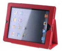 Кожаный красный чехол для iPad 2