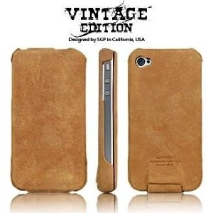 SGP Leather Case Vintage Edition Series [Brown Flat] для iPhone 4/4S