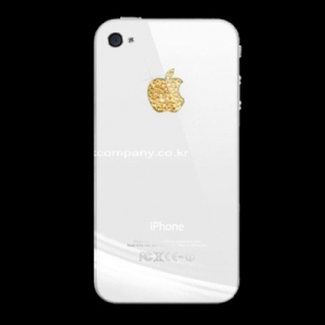 Купить Наклейка на логотип Swarovski Elements золотая для iPhone 4/4S