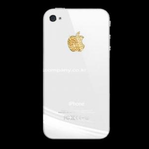 Наклейка на логотип Swarovski Elements золотая для iPhone 4/4S