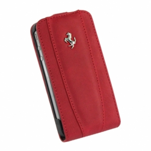 Ferrari Modena Leather Case with Flap Red с дополнительной батареей для iPhone 4/4S