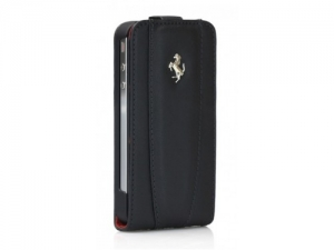 Ferrari Modena Leather Case with Flap Black с дополнительной батареей для iPhone 4/4S