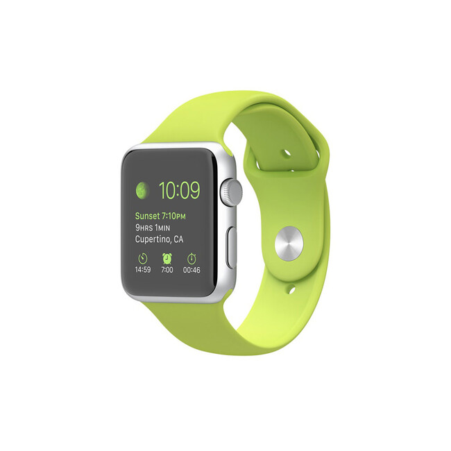 Часы Apple Watch Sport 42mm Silver с салатовым ремешком
