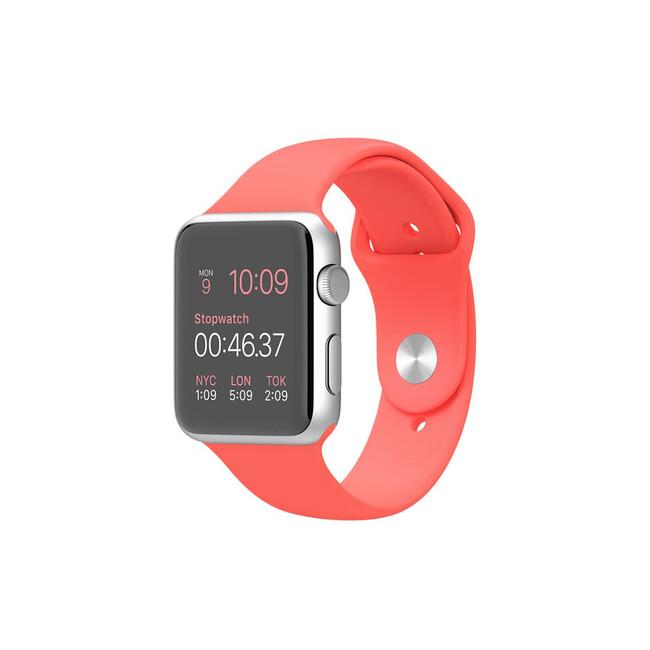 Часы Apple Watch Sport 42mm Silver с розовым ремешком
