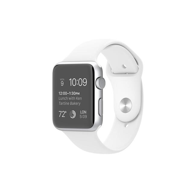 Часы Apple Watch Sport 42mm Silver с белым ремешком (MJ3V2)