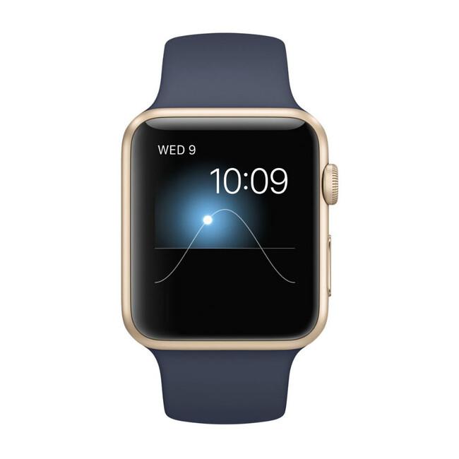 Часы Apple Watch Sport 42mm Gold с темно-синим ремешком