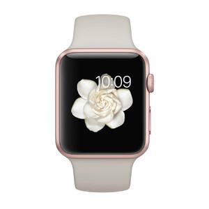 Купить Часы Apple Watch Sport 42mm Rose Gold с бежевым ремешком