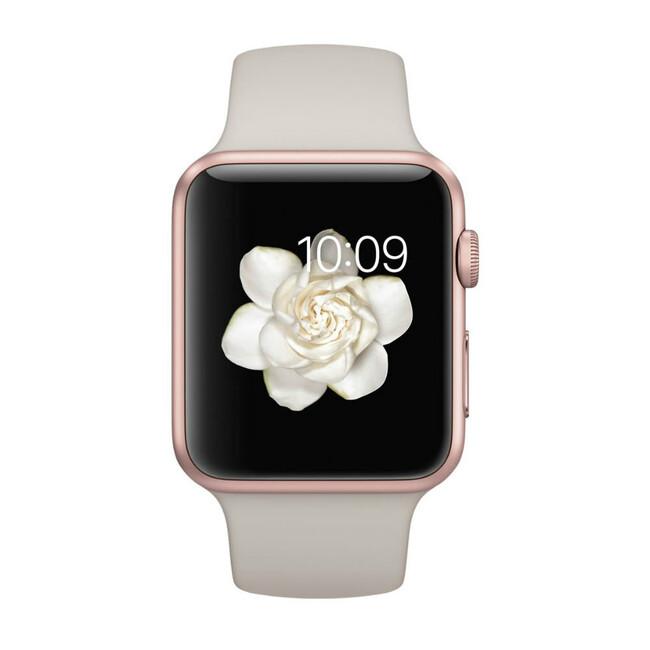 Часы Apple Watch Sport 42mm Rose Gold с бежевым ремешком
