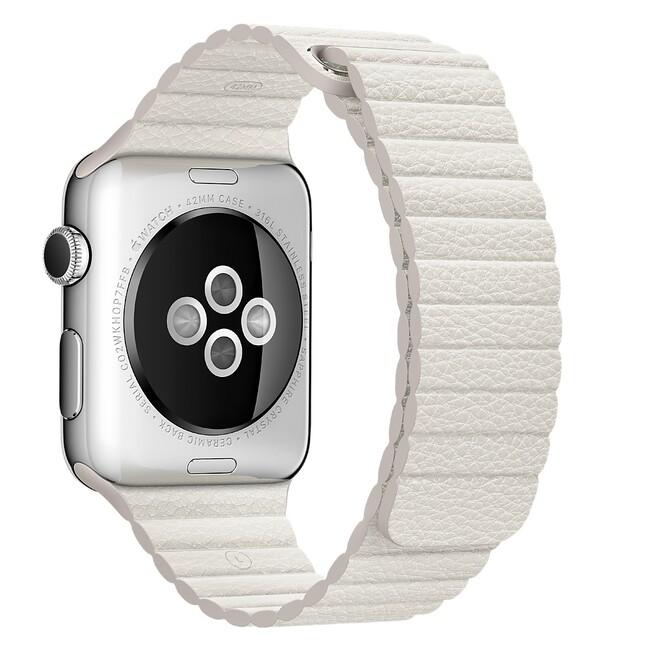 Ремешок Apple 42mm White Leather Loop (MMAT2) для Apple Watch