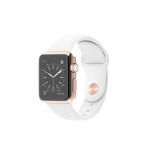 Часы Apple Watch Edition 38mm 18-Karat Rose Gold с белым ремешком