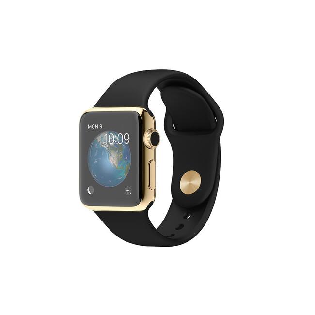 Часы Apple Watch Edition 38mm 18-Karat Yellow Gold с черным ремешком