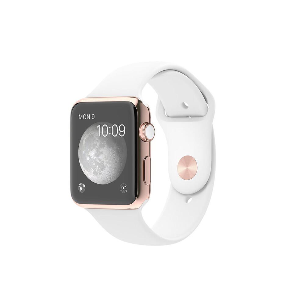 Часы Apple Watch Edition 42mm 18-Karat Rose Gold с белым ремешком