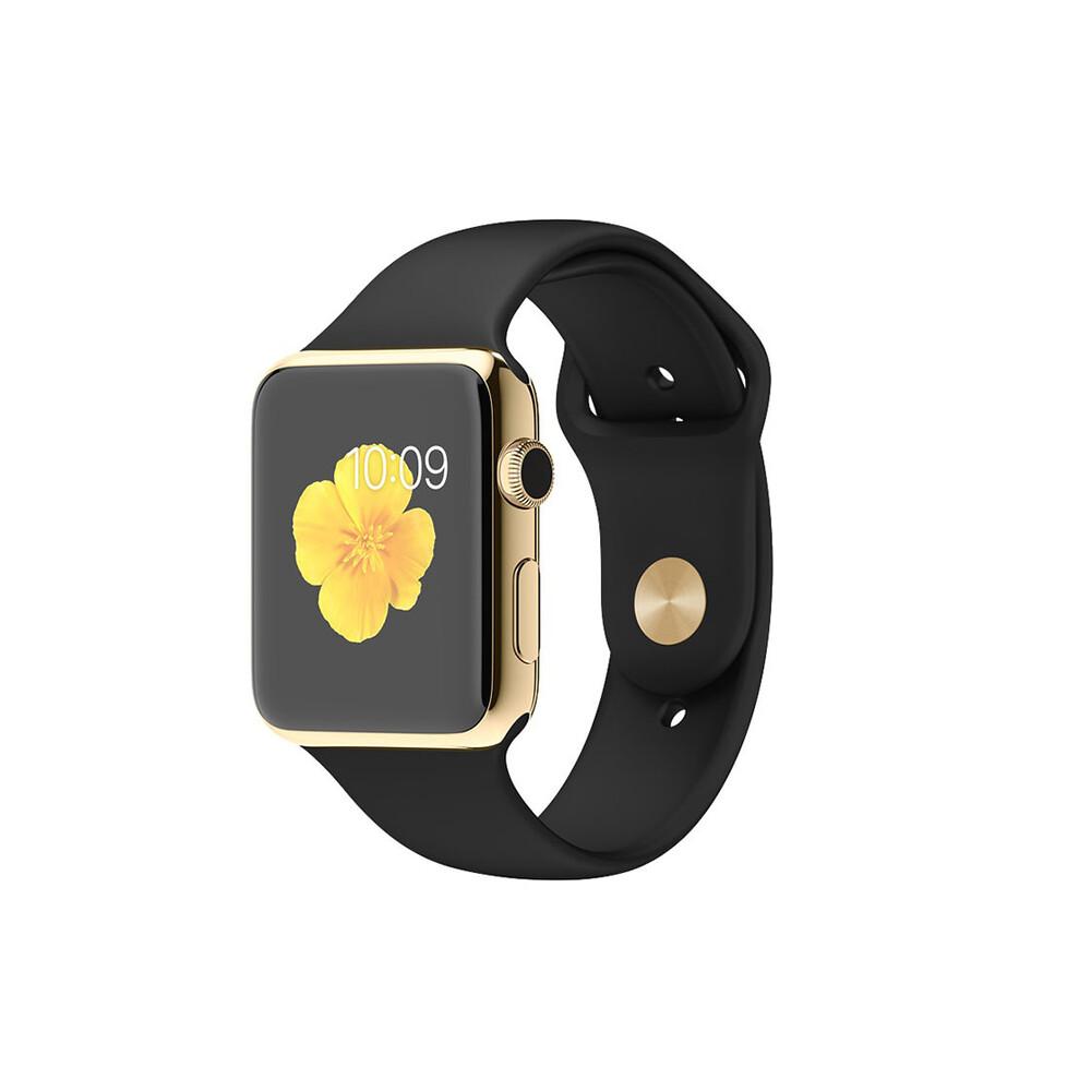 Часы Apple Watch Edition 42mm 18-Karat Yellow Gold с черным ремешком