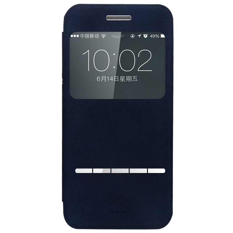Кожаный флип-чехол Baseus Terse Series Navy Blue для iPhone 6 Plus/6s Plus