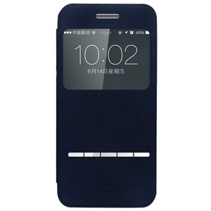 Купить Кожаный флип-чехол Baseus Terse Series Navy Blue для iPhone 6/6s Plus