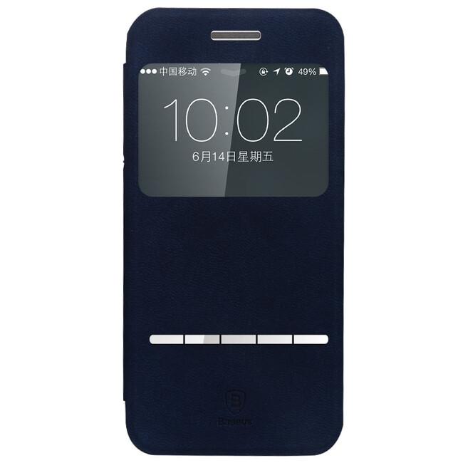 Кожаный флип-чехол Baseus Terse Series Navy Blue для iPhone 6/6s Plus