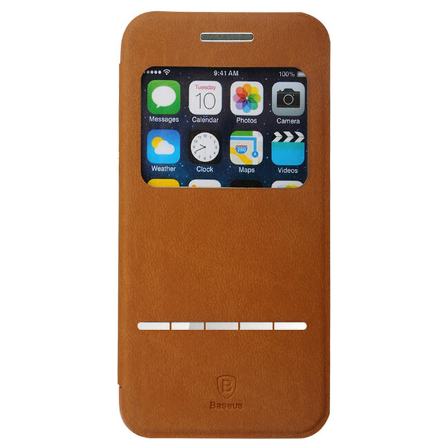 Кожаный флип-чехол Baseus Terse Series Brown для iPhone 6/6s Plus
