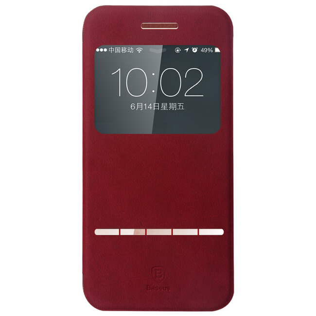 Кожаный флип-чехол Baseus Terse Series Red для iPhone 6/6s Plus