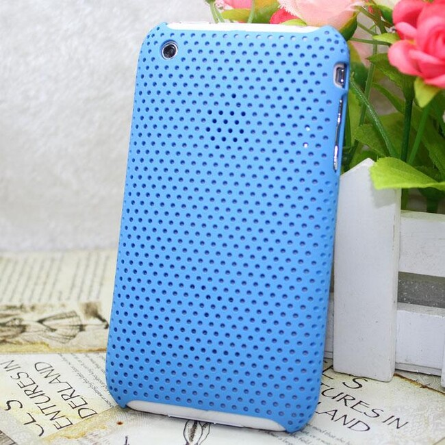 Пластиковый синий чехол Grid для iPhone 3G/3GS