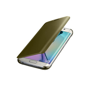 Купить Чехол Samsung Clear S-View Cover Gold для Samsung Galaxy S6 Edge