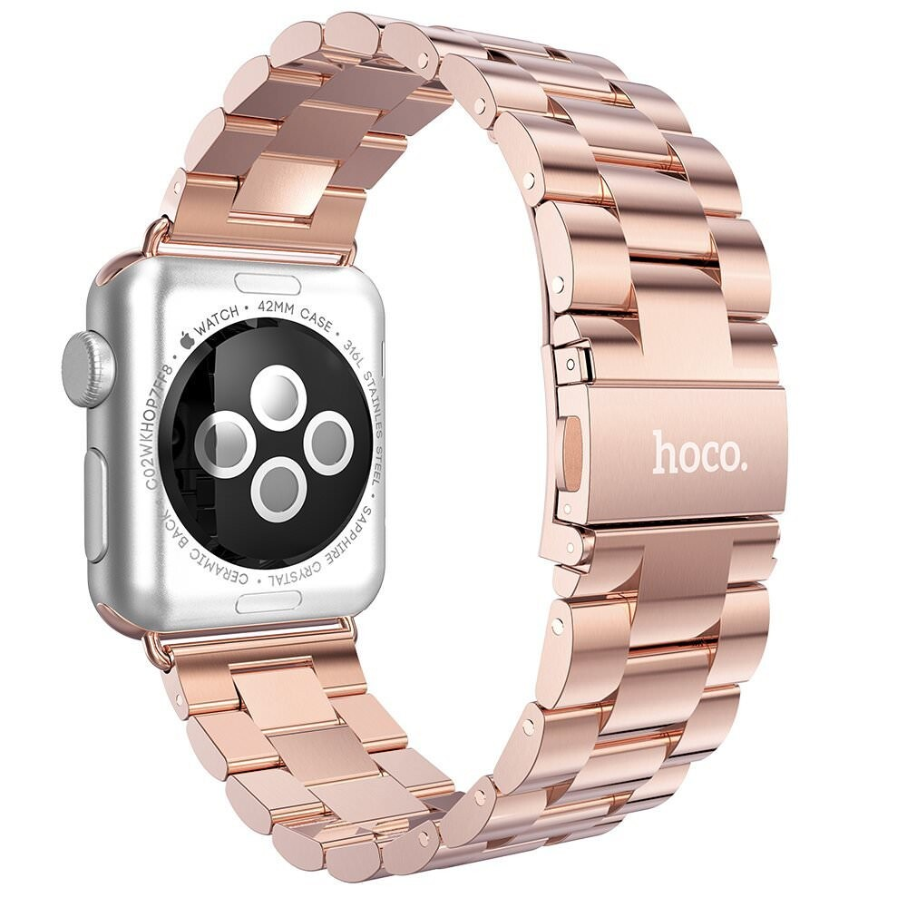 Металлический ремешок HOCO Stainless Steel Rose Gold для Apple Watch 42mm Series 1/2/3