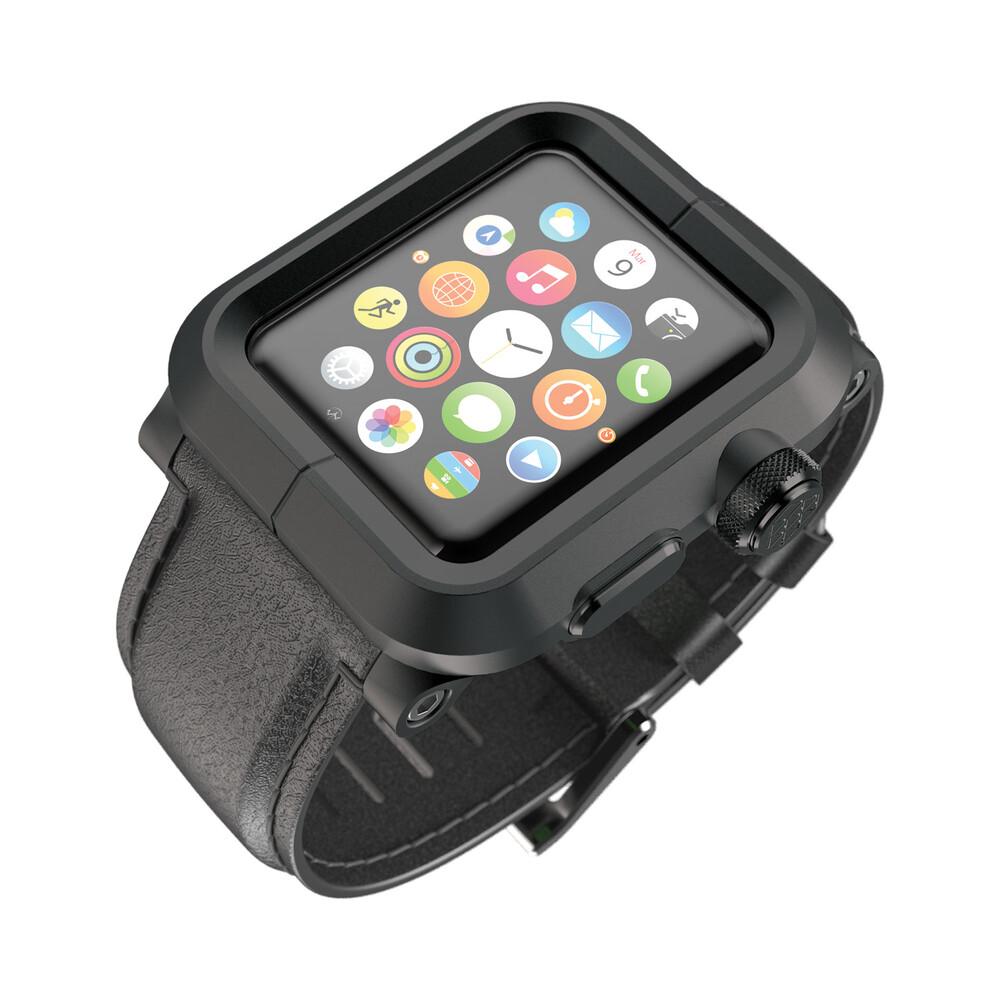 Чехол LUNATIK EPIK ALUMINUM Black с черным кожаным ремешком для Apple Watch Series 1 42mm