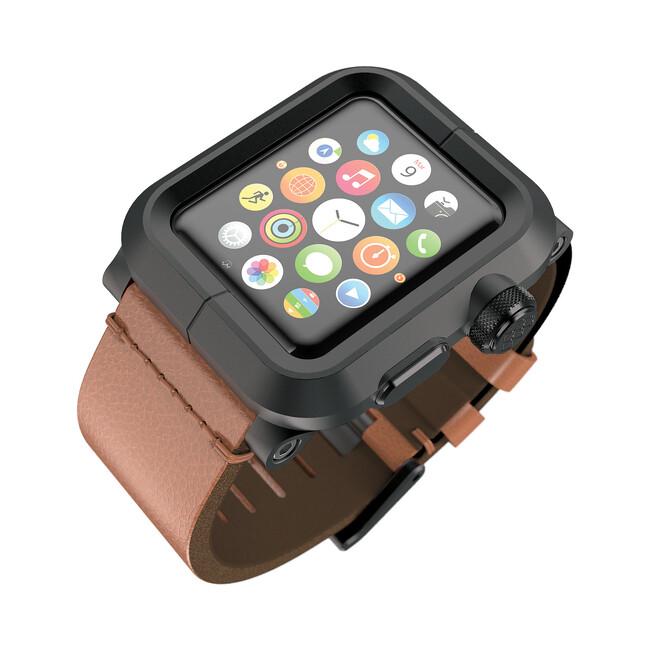 Чехол LUNATIK EPIK ALUMINUM Black с коричневым кожаным ремешком для Apple Watch Series 1 42mm