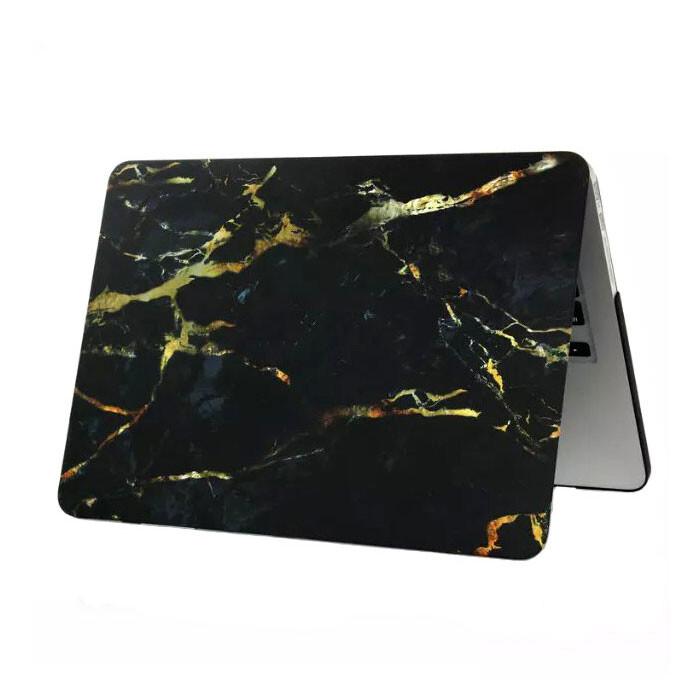 """Мраморный чехол Marble Black/Yellow для MacBook 12"""""""