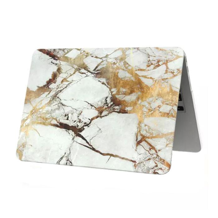 """Мраморный чехол Marble White/Yellow для MacBook 12"""""""