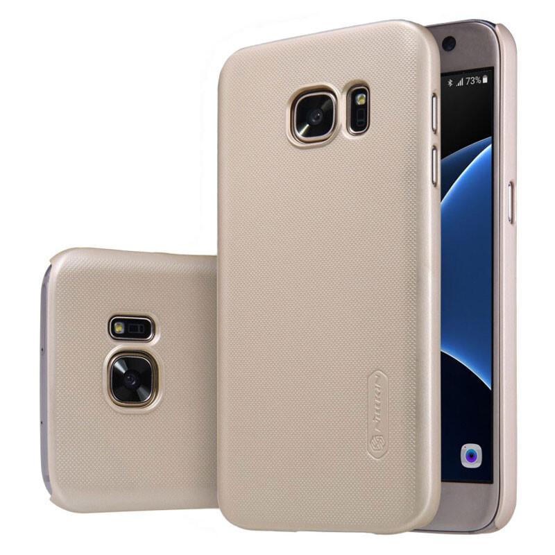 Золотой пластиковый чехол Nillkin Frosted Shield для Samsung Galaxy S7