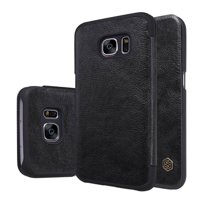 Кожаный флип-чехол Nillkin Qin Series Черный для Samsung Galaxy S7