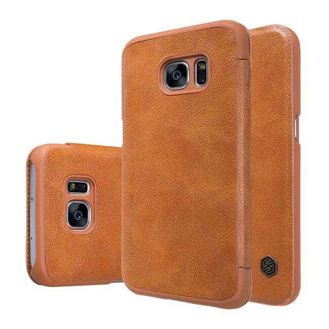 Кожаный флип-чехол Nillkin Qin Series Коричневый для Samsung Galaxy S7