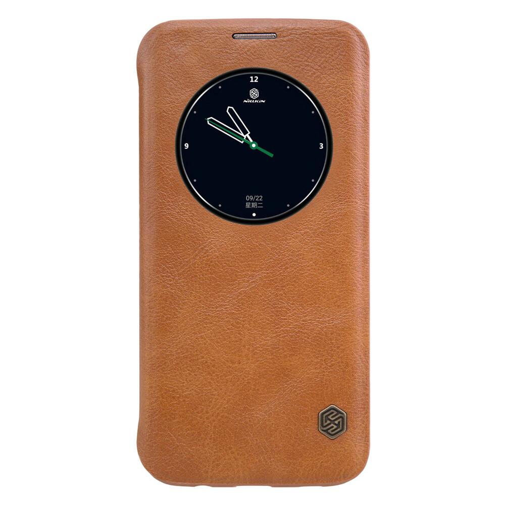 Кожаный флип-чехол Nillkin Qin Series Коричневый для Samsung Galaxy S7 edge