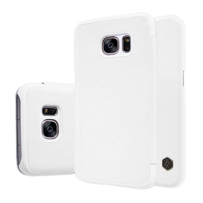 Кожаный флип-чехол Nillkin Qin Series Белый для Samsung Galaxy S7