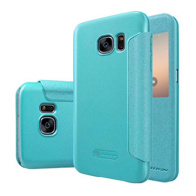 Чехол с окошком Nillkin Sparkle Голубой для Samsung Galaxy S7