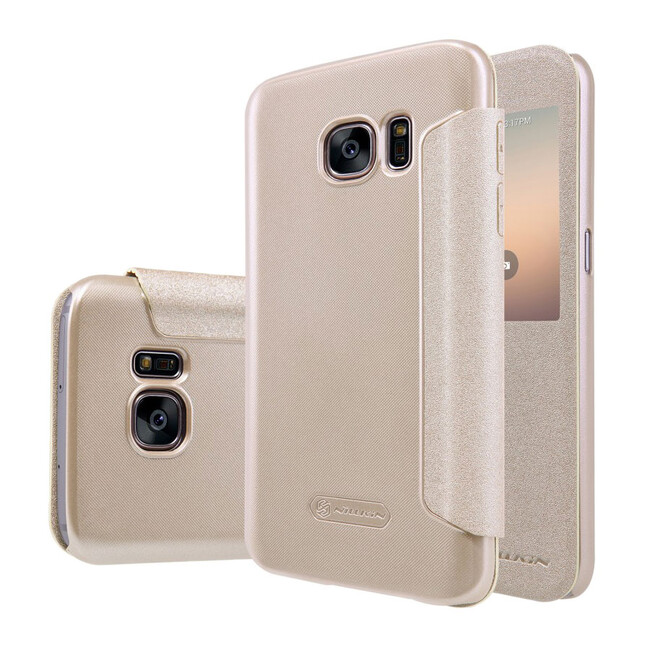 Чехол с окошком Nillkin Sparkle Золотой для Samsung Galaxy S7