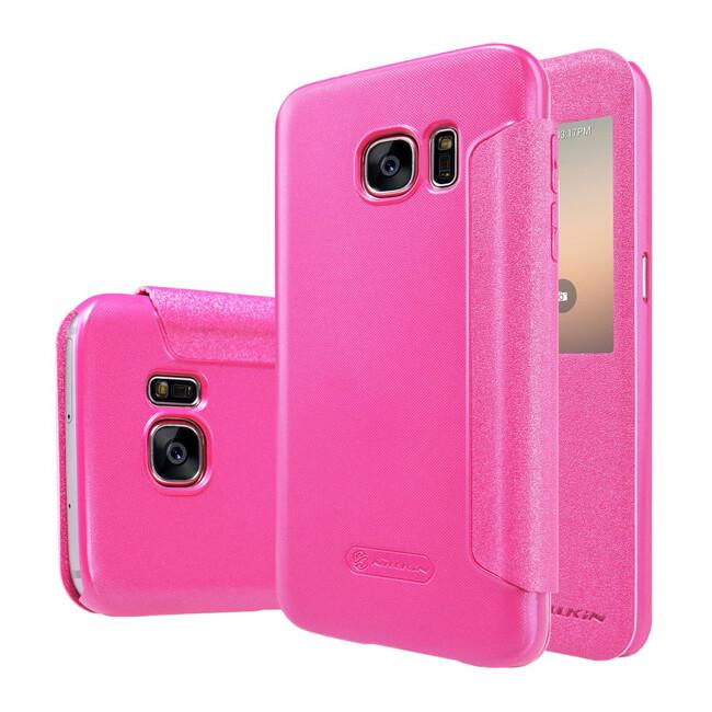 Чехол с окошком Nillkin Sparkle Розовый для Samsung Galaxy S7