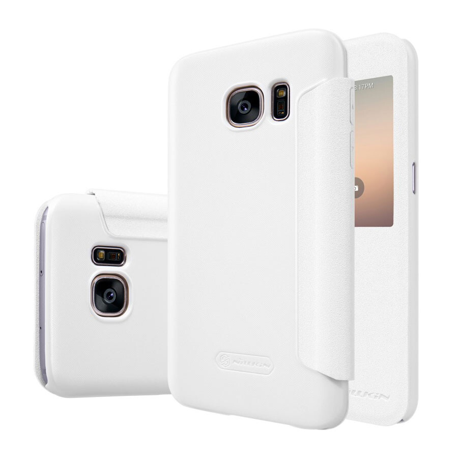 Чехол с окошком Nillkin Sparkle Белый для Samsung Galaxy S7