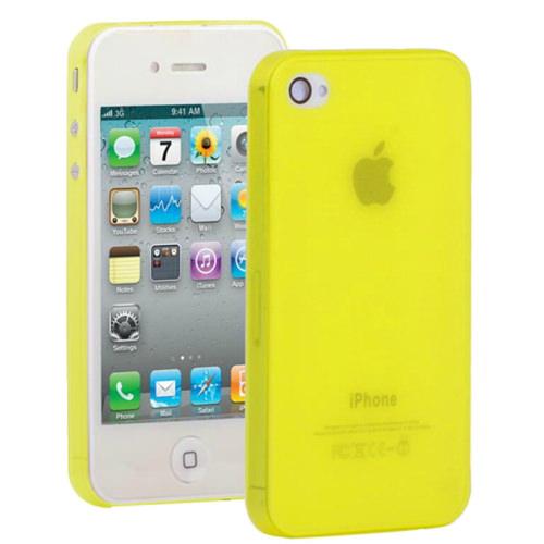 Желтый ультратонкий чехол O'Thinner 0.3mm для iPhone 4/4S