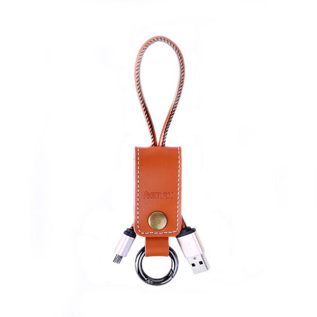 Кожаный брелок-кабель Remax Western Micro USB Brown