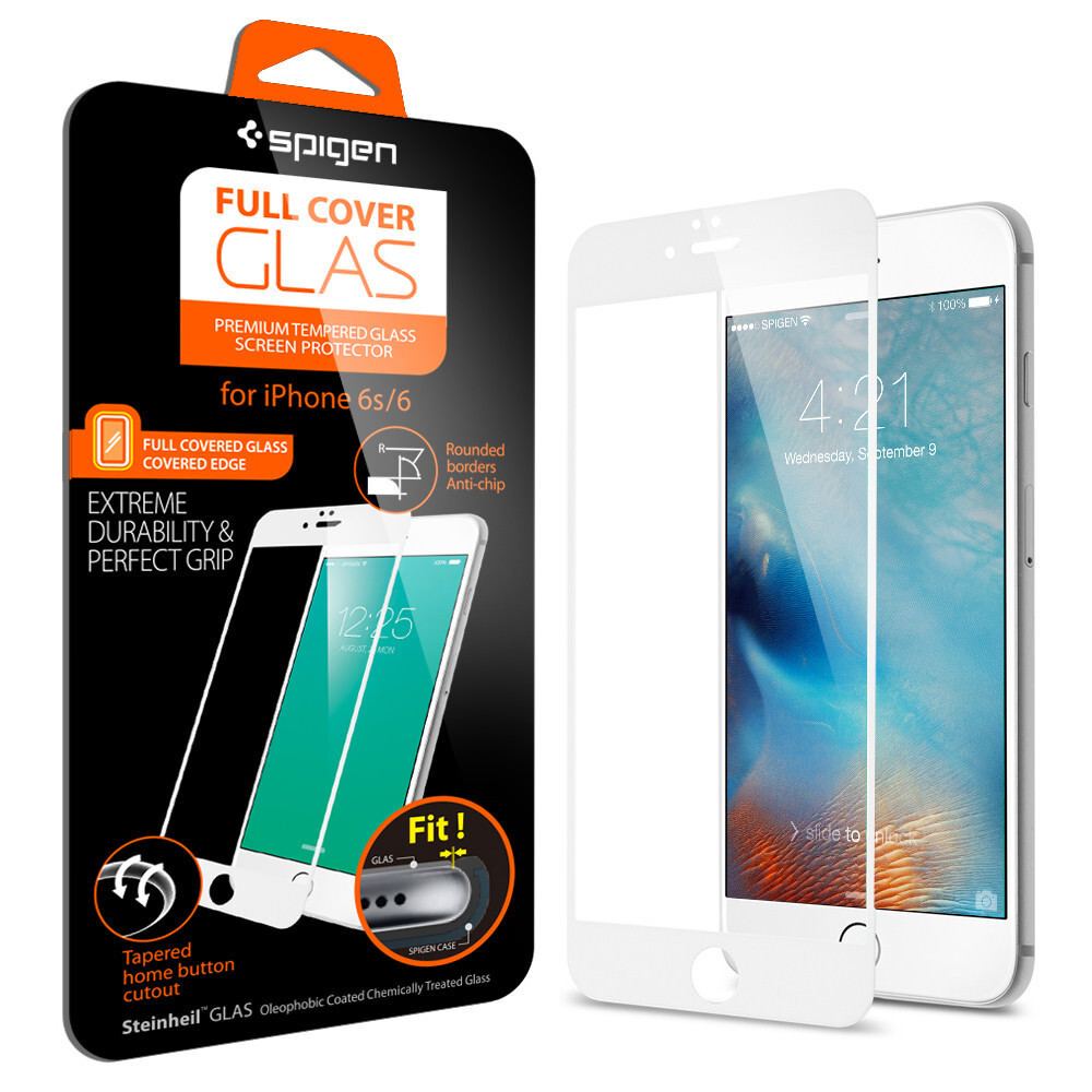Защитное стекло Spigen Full Cover Glass White для iPhone 6/6s