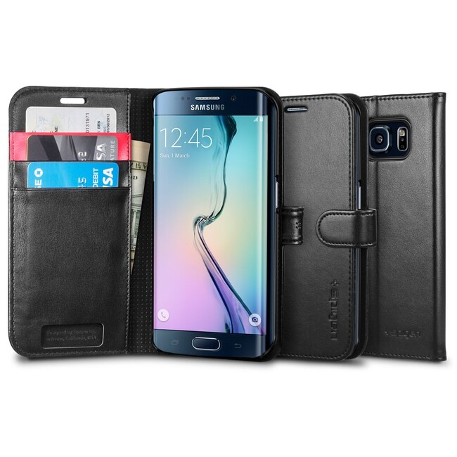 Чехол Spigen Wallet S Black для Samsung Galaxy S6 Edge