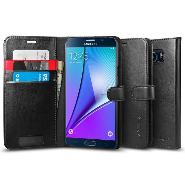 Кожаный чехол Spigen Wallet S для Samsung Galaxy Note 5