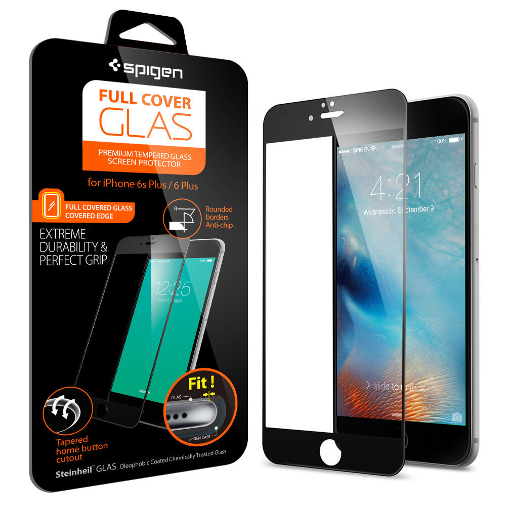 Защитное стекло Spigen Full Cover Glass Black для iPhone 6 Plus/6s Plus