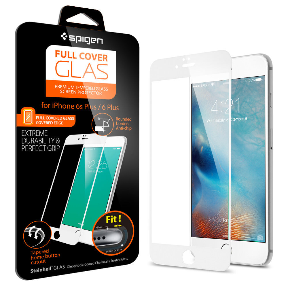 Защитное стекло Spigen Full Cover Glass White для iPhone 6 Plus/6s Plus